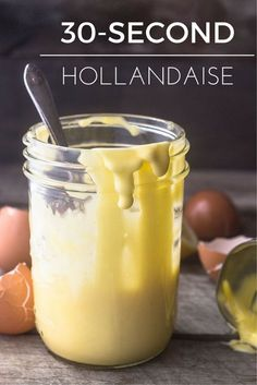 30 Second Hollandaise Sauce This post may contain affiliate links.> This 30 Second Hollandaise Sauce recipe is made quick and creamy with your immersion blender — no Nutribullet, Blender Hollandaise, Recipe For Hollandaise Sauce, Immersion Blender Recipes, Sauce Recipes, Cooking Recipes, Cooking Rice, Sauces, Asparagus