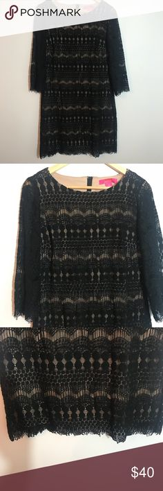 """Catherine's Black Nude Lace Cocktail Dress Size 10 Excellent condition. No flaws. Gorgeous, black cocktail dress with a nude lining. Sleeves do not have a lining. Zipper in back. Would be great for holidays coming up! Size 10. 3/4 Sleeves. Measurements taken laid flat: bust approximately 18"""", Waist approximately 18"""", length approximately 35"""" Catherines Dresses Midi"""