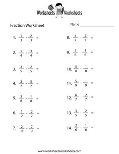 5th grade math worksheets fractions - Google Search