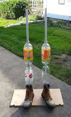 """Body forms for life size props utilize PVC frames and simply add empty 2 liter bottles for leg filler. Incidentally, the necks of the bottles fit 1/2"""" PVC pipe perfectly.Just use a 7%"""