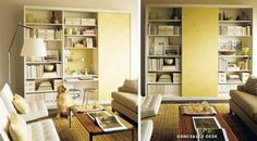 desk hidden bill storage | Places to Fit an Office in the Living Room
