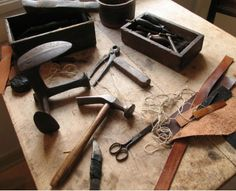 Shoe Making Tools and Workbench
