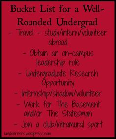 Bucket list for a well-rounded undergrad experience