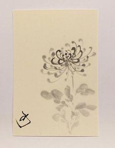 Ink drawing Japanese art mini art mini drawing by ArtGalleryReina