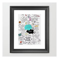 The Fault In Our Stars- John Green Framed Art Print ($32) ❤ liked on Polyvore featuring home, home decor, wall art, framed art prints, miniature painting, acrylic painting, green painting, framed paintings and wall paintings