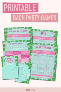 It's not a bachelorette weekend without a few fun games to get the party started! We created four classic and fun tropical-themed bachelorette party activities the entire bride squad will love. Choose from a Bachelorette Party Scavenger Hunt, Drink If Drinking Game, Groom Quiz, Bridal Trivia or purchase the bundle to save! Pair with matching tropical bachelorette party invitations, cups, coozies and shirts from our Tropic Like It's Hot Bachelorette Party Collection to complete the theme. Bachelorette Party Scavenger Hunt, Bachelorette Party Activities, Bachelorette Party Drinks, Bachelorette Party Invitations, Bachelorette Weekend, Shower Invitations, Engagement Party Decorations, Balloon Decorations Party, Backyard Decorations