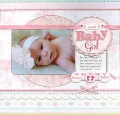 Baby Girl Scrapbook Ideas Baby Girl Could change it up nicely for a boy too. #for #boy #Could Scrapbook Bebe, Baby Girl Scrapbook, Baby Scrapbook Pages, Scrapbook Page Layouts, Scrapbook Paper Crafts, Scrapbook Cards, Scrapbook Sketches, Recipe Scrapbook, Baby Cards