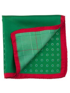 Fab Christmas colors pocket square. Made in Italy, 100% silk.