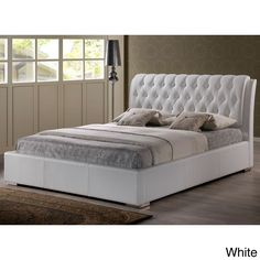 Our Bianca full bed features a detailed, foam-padded headboard with simple rectangular full-sized frame, this modern platform bed is a fusion of the old and the new.  The contemporary bed is made with hardwood, plywood, and MDF.