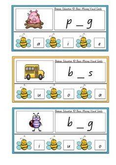 Print and cut out Buzz Missing Vowel Cards. Before laminating place a dot or sticker on the back of the correct answer square to assist self-correction. Players look at the picture and attempt to correctly identify the missing vowel from the bottom area. The vowel is chosen by attaching a peg or placing a counter on top. Players can then check their answer by flipping the card over and looking where the marking/sticker is placed. This is a great independent literacy center activity!