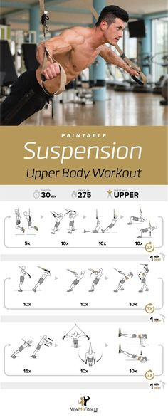 Trx workouts - TRX Upper Body Workout Posted By CustomWeightLossProgram com Fitness Workouts, Sport Fitness, Fitness Motivation, Trx Training, Strength Training, Calisthenics Workout, Trx Workout, Workout Body, Plyometrics