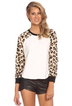 White Leopard Long Sleeve Loose Sweatshirt 15.19