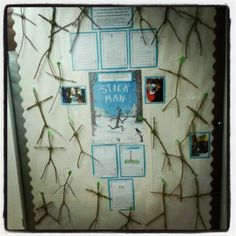 #Stick man display Joined twigs from the garden, the children added their stick man details onto their sticks! Massive hit in reception class. EYFS Literacy