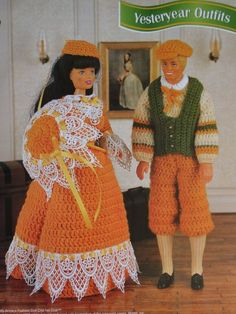 Yesteryear Outfits for Ken and Barbie Crochet Patterns for Vest, Shirt, Knickers, Hats, Dress and Parasol for Fashion Dolls