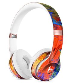 Abstract Bright Primary and Secondary Colored Oil Painting Full-Body Skin Kit for the Beats by Dre Solo 3 Wireless Headphones
