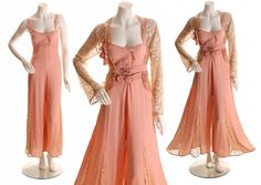 RESERVED-LAYAWAY 1930s Sheer Cream Spider Web Lace Dusty Rose Pink Silk Beach Pajama One Piece Jumpsuit and Matching Silk Flower Lace Jacket by NaughtyKittyVintage on Etsy https://www.etsy.com/listing/551102013/reserved-layaway-1930s-sheer-cream