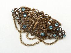 Schmetterling Haarspange in bronze blau antik Haarschmuck