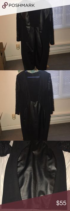 """ASOS Curve Black Dress Beautiful black dress with """"leather like"""" detailing and lace detailed sleeves. The dress is form fitting, was only worn once and is in EXCELLENT condition. It would be perfect for a night clubbing or sexy date night. ASOS Curve Dresses Mini"""