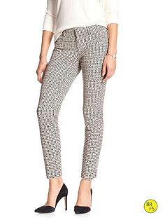 Banana Republic Factory (Outlet) Print Sloan-Fit Slim Ankle Pant - White Print - Size 4 Petite