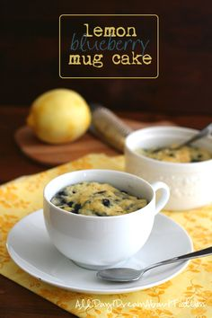 Lemon Blueberry Mug Cake - easy and healthy. Nut-free, dairy-free and gluten-free for those with allergies or intolerances.