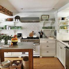white kitchen + open shelving