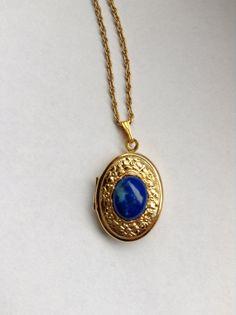 Blue Cabochon in Gold Locket by CabochonsByBev on Etsy, $15.00