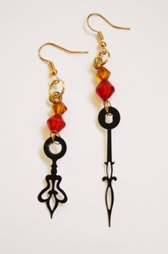 Steampunk Clock Hand Earrings - Red and Orange Sunset