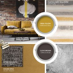 Monday Moodboard - Add rich colour to an urban interior with spicy mustard and bitter chocolate. Carry the industrial look through with dark wood and polished concrete. Yellow Walls Living Room, Mustard Yellow Decor, Yellow Interior, Interior Paint, Interior Design, Yellow Sofa, Paint Stripes, Lounge Decor, Striped Wallpaper