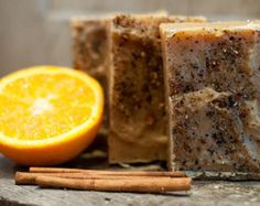 Homemade soap with cinnamon and orange