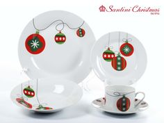 Vajilla con motivo de bolas navideñas / Christmas Balls Dinnerware Set Christmas China, Christmas Dishes, Christmas Tablescapes, Christmas Balls, Christmas Colors, Christmas Themes, Christmas Crafts, Christmas Decorations, Xmas