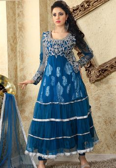 Teal Blue Net Churidar Kameez