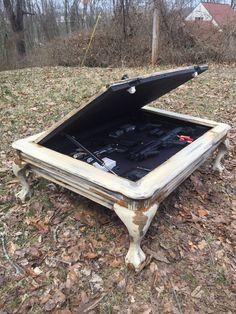 Hidden gun safe coffee table