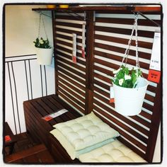 ÄPPLARÖ Bench w/wall panel + shelf, outdoor, brown stained