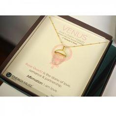 The Venus Necklace embodies the essence of the Roman goddess of beauty & love. Rose Quartz is the stone of love, romance and partnership. #RoseQuartz #love #venus #crystal #pendant