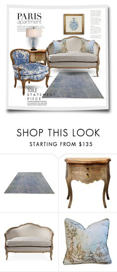 """""""Blue Toile"""" by youaresofashion ❤ liked on Polyvore featuring interior, interiors, interior design, home, home decor, interior decorating, C. Wonder, paris, toile and parisapartment"""