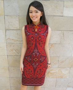Shanghai Tea Dress Bright Red Tenun | batik kultur