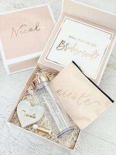 PINK Bridesmaid Box Gifts Personalized Pink Bridesmaid Box | Etsy