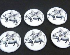 "6 Flying Pig Sewing Buttons.  3/4"" or 20 mm Handmade Buttons. When Pigs Fly. Handmade By Me.  Washer and Dryer Safe."
