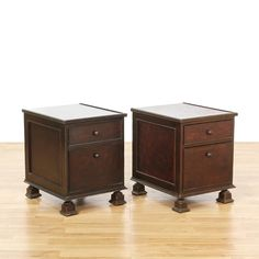 "This pair of ""South Cone"" nightstands are featured in a solid wood with a dark espresso stained finish. These Peruvian end tables have 2 spacious drawers, simple carved trim and large turned block feet. Bohemian bed side tables with tons of storage! #americantraditional #dressers #nightstand #sandiegovintage #vintagefurniture"