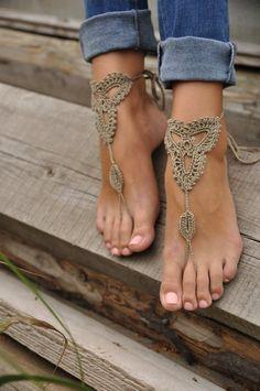 Crochet Tan Barefoot Sandals, Nude shoes, Foot jewelery