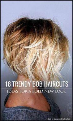 New Bob Haircuts 2019 & Bob Hairstyles 25 Bob Hair Trends for Women - Hairstyles Trends Layered Bob Hairstyles, Layered Hair, Bob Haircuts, Medium Hair Styles, Short Hair Styles, Bob Styles, Pelo Color Plata, Bobs For Thin Hair, Pinterest Hair