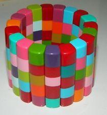 HUGE Marion Godart Expandable Colorful Lucite Panel Bracelet