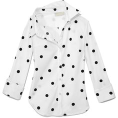 Monse White & Black Polka Dot Shirt (10.265 ARS) ❤ liked on Polyvore featuring tops, black white shirt, white and black top, black and white dot shirt, black white polka dot shirt and shirt top