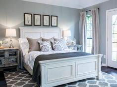 Dark Blue Gray Bedroom light blue gray paint colors | blue gray bedroom, grey bed and