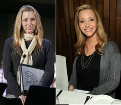 How Lisa Kudrow looks without make up, hairdressers help and her smile.