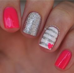 Fun Valentine's Day nails: Pink and silver Valentine's nail art at Love's Sweet . - Fun Valentine's Day nails: Pink and silver Valentine's nail art at Love's Sweet As Diy Nails, Cute Nails, Pretty Nails, Nail Designs Pictures, Nail Art Designs, Nails Design, Popular Nail Designs, Pedicure Designs, Valentine Nail Art