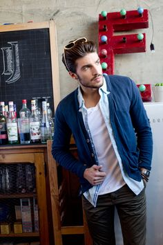 white tee, blue open shirt, cardigan and grey trousers Style inspiration - Mariano Di Vaio for Rum Jungle, SS13.