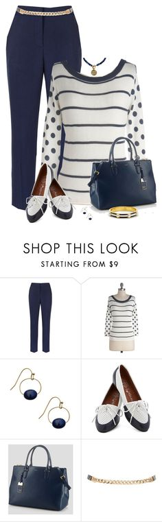 """Navy Polka Dot & Stripe Sweater"" by dkelley-0711 ❤ liked on Polyvore featuring Reiss, Bea & Dot, Jeffrey Campbell, Ralph Lauren, C. Wonder, ralphlauren and modcloth"