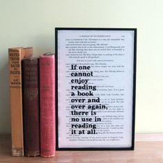 Enduring pearls of wisdom from Oscar Wilde printed onto a page from an upcycled copy of his Complete Plays. This framed quote makes a great gift for your favourite book lover.  If one cannot enjoy reading a book over again, there is no use in reading at all.  The theatrical literature lover in you life will love Oscars wit and wisdom printed using Bookishlys exclusive hand drawn font onto an original book page. I re-use old copies of Oscar Wildes Complete Plays to create these pieces, so…