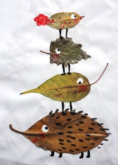 Herbstdeko basteln -DIY Bastelideen - Blatt Tiere basteln mit Kindern Source by diydekoideen crafts Kids Crafts, Projects For Kids, Diy For Kids, Art Projects, Arts And Crafts, Kids Nature Crafts, Autumn Art Ideas For Kids, Leaf Projects, Autumn Crafts Kids